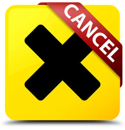 Cancel isolated on yellow square button with red ribbon in corner abstract illustration Stock Photo