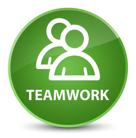 Teamwork (group icon) isolated on elegant soft green round button abstract illustration