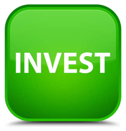 Invest isolated on special green square button abstract illustration
