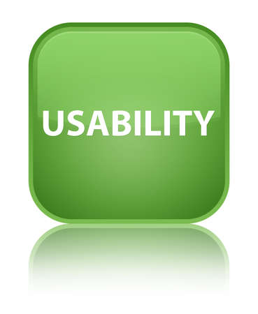 Usability isolated on special soft green square button reflected abstract illustration Stock Photo