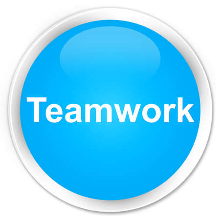 Teamwork isolated on premium cyan blue round button abstract illustration Stock Photo