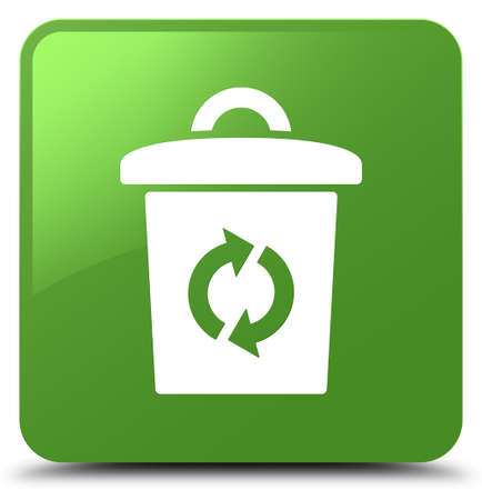 Trash icon isolated on soft green square button abstract illustration