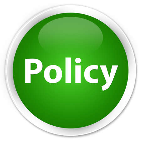 Policy isolated on premium green round button abstract illustration