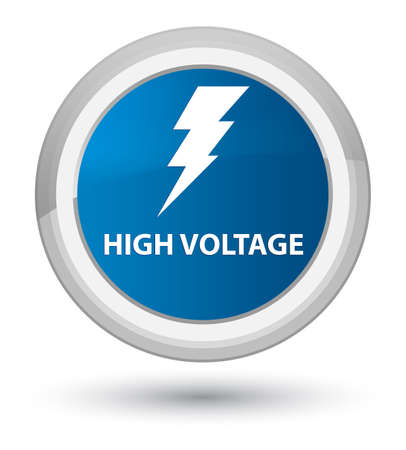High voltage (electricity icon) isolated on prime blue round button abstract illustration Stock Photo