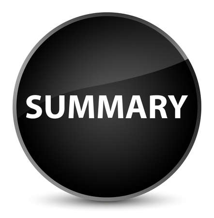 Summary isolated on elegant black round button abstract illustration Stok Fotoğraf