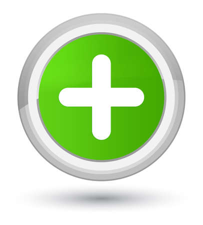 Plus icon isolated on prime soft green round button abstract illustration