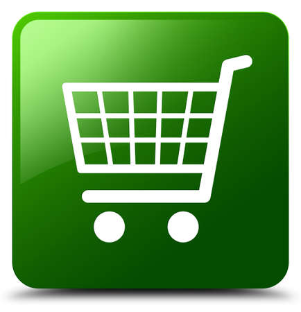 E-commerce icon isolated on green square button abstract illustration