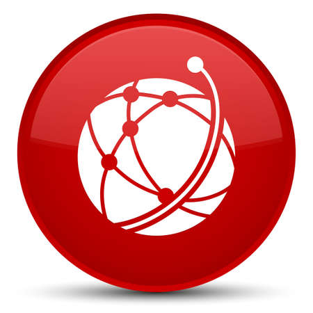 Global network icon isolated on special red round button abstract illustration