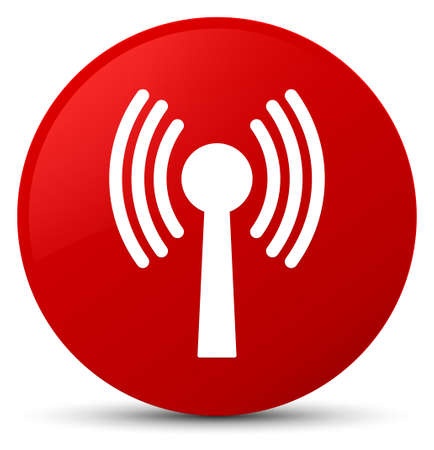 Wlan network icon isolated on red round button abstract illustration