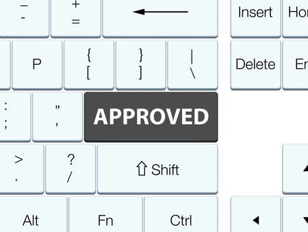 Approved isolated on black keyboard button abstract illustration