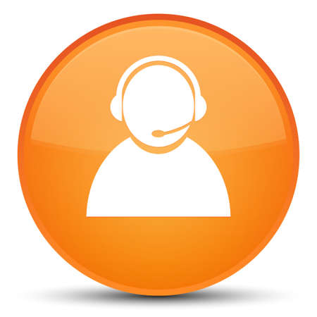 Customer care icon isolated on special orange round button abstract illustration