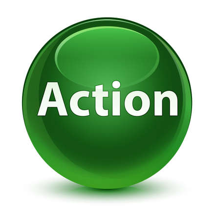 Action isolated on glassy soft green round button abstract illustration