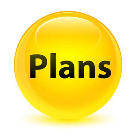 Plans isolated on glassy yellow round button abstract illustration