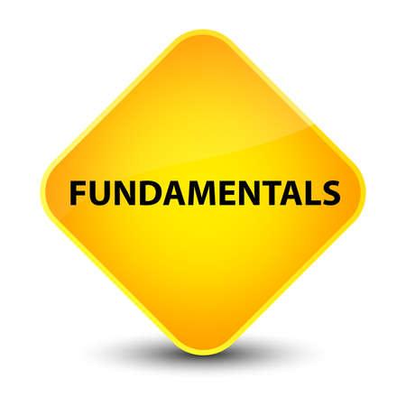 Fundamentals isolated on elegant yellow diamond button abstract illustration Stock Photo