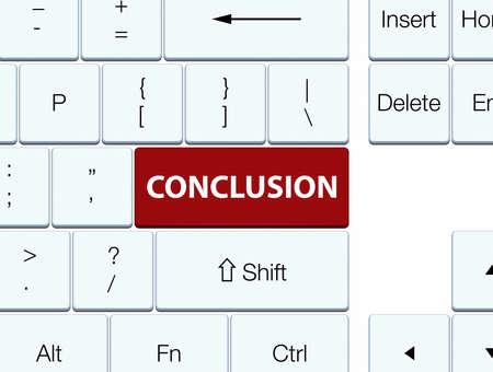 Conclusie op de bruine abstracte illustratie die van de toetsenbordknoop wordt geïsoleerd Stockfoto
