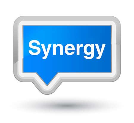 Synergie op de eerste abstracte illustratie die van de cyaan blauwe banner wordt geïsoleerd