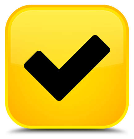 Validate icon isolated on special yellow square button abstract illustration