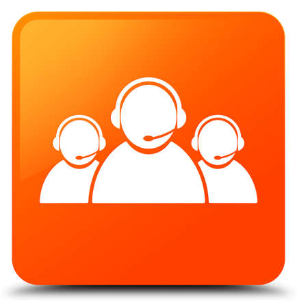 Customer care team icon isolated on orange square button abstract illustration