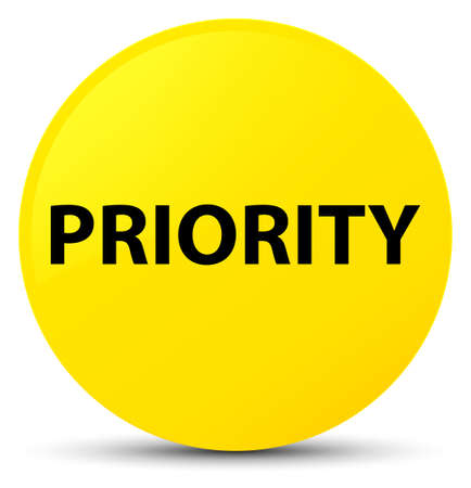 Priority isolated on yellow round button abstract illustration Stock Photo