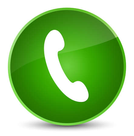 Phone icon isolated on elegant green round button abstract illustration