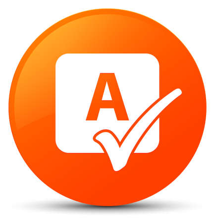 Spell check icon isolated on orange round button abstract illustration Stock Photo