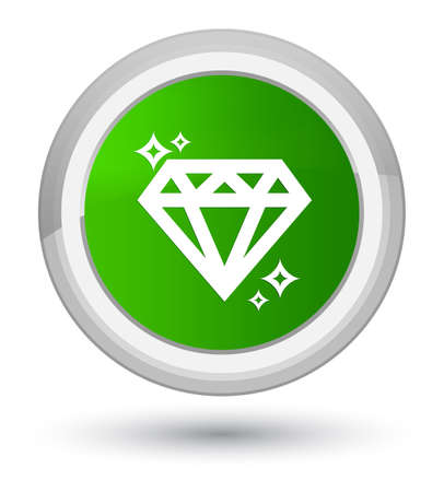 Diamond icon isolated on prime green round button abstract illustration