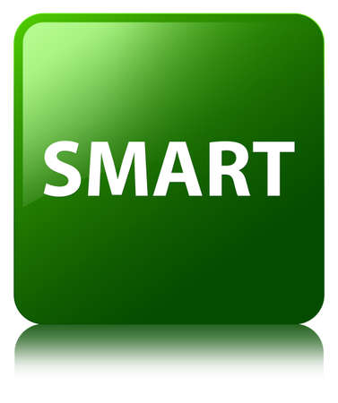 Smart isolated on green square button reflected abstract illustration