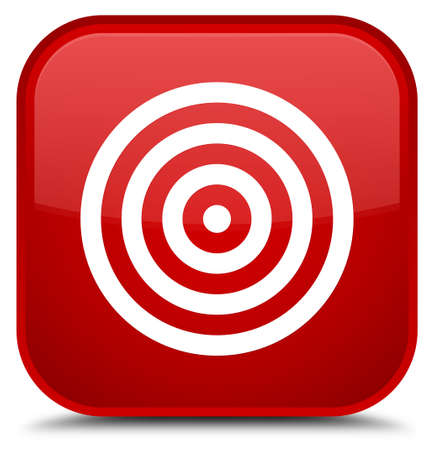 aim: Target icon isolated on special red square button abstract illustration