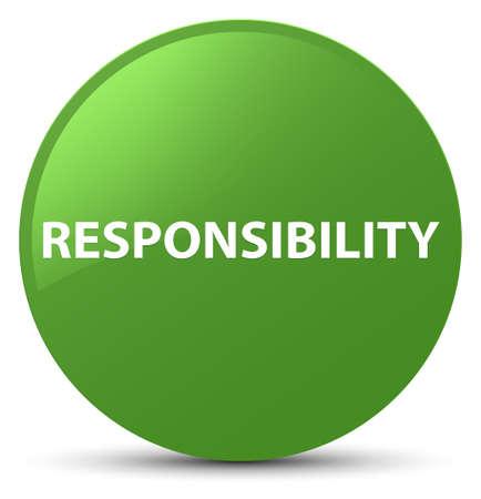Verantwoordelijkheid op zachte groene ronde knoop abstracte illustratie die wordt geïsoleerd Stockfoto