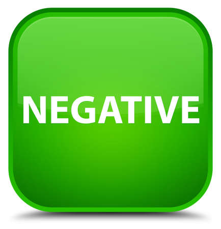 Negative isolated on special green square button abstract illustration