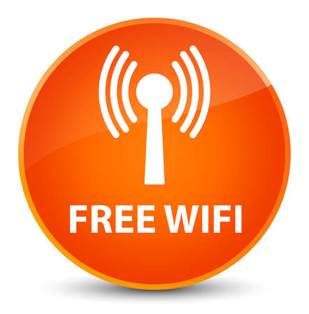Free wifi (wlan network) isolated on elegant orange round button abstract illustration Stock Photo