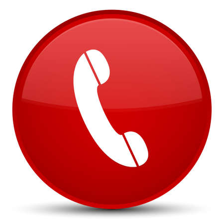 Phone icon isolated on special red round button abstract illustration