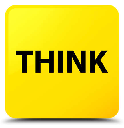 Think isolated on yellow square button abstract illustration Banco de Imagens