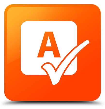 Spell check icon isolated on orange square button abstract illustration