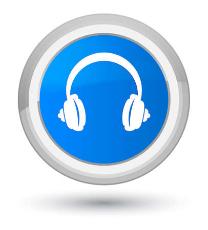 Headphone icon isolated on prime cyan blue round button abstract illustration Stock Photo
