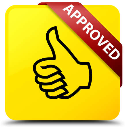 Approved (thumbs up icon) isolated on yellow square button with red ribbon in corner abstract illustration