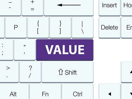 Value isolated on purple keyboard button abstract illustration