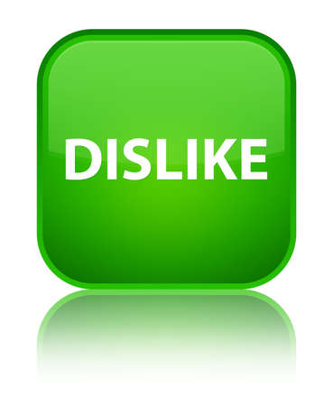 disapprove: Dislike isolated on special green square button reflected abstract illustration Stock Photo