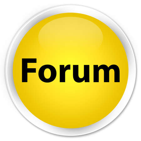 Forum isolated on premium yellow round button abstract illustration