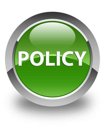 Policy isolated on glossy soft green round button abstract illustration