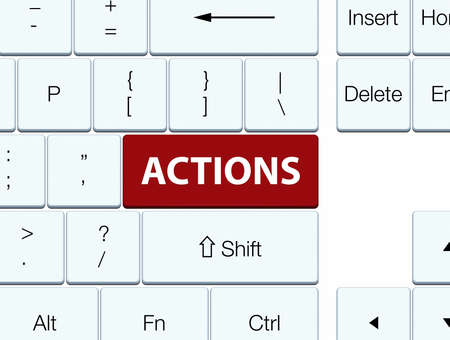 Actions isolated on brown keyboard button abstract illustration Фото со стока - 88918560