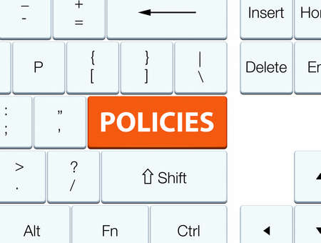 Policies isolated on orange keyboard button abstract illustration