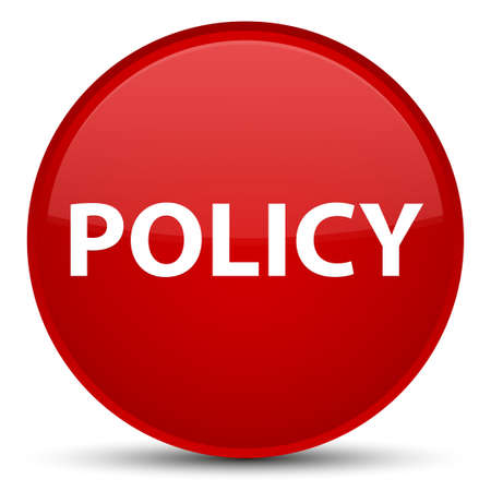 Policy isolated on special red round button abstract illustration