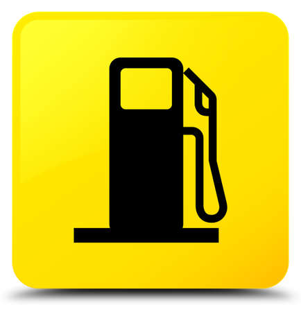 filling station: Fuel dispenser icon isolated on yellow square button abstract illustration
