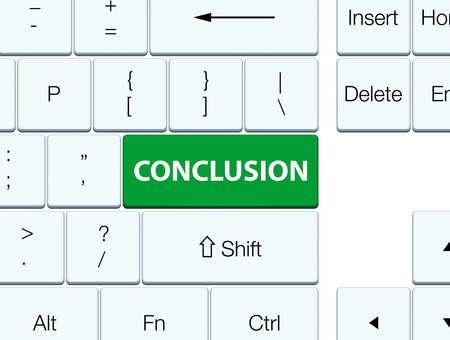 Conclusie op de groene abstracte illustratie die van de toetsenbordknoop wordt geïsoleerd Stockfoto