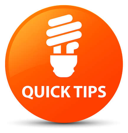 Quick tips (bulb icon) isolated on orange round button abstract illustration