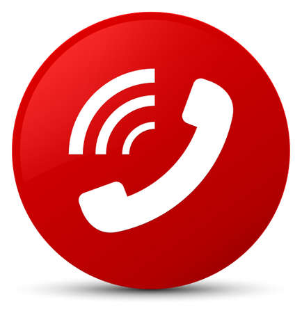 Phone ringing icon isolated on red round button abstract illustration