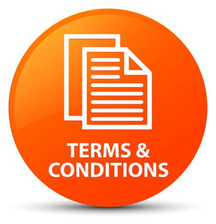 Términos y condiciones (icono de páginas) aislado en naranja Resumen de botón redondo ilustración Foto de archivo - 88918808