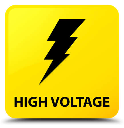 High voltage (electricity icon) isolated on yellow square button abstract illustration