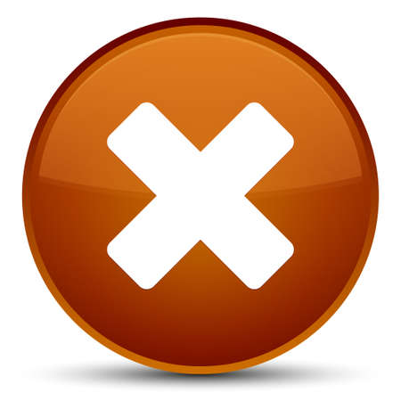 negative: Cancel icon isolated on special brown round button abstract illustration